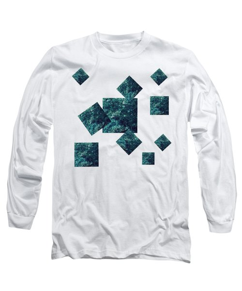 Long Sleeve T-Shirt featuring the mixed media Fuchsite Squares On Gold by Rachel Hannah