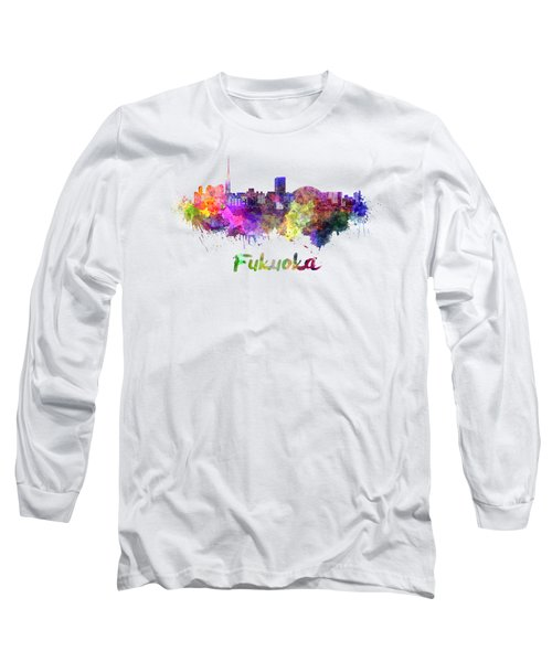 Fukuoka Skyline In Watercolor Long Sleeve T-Shirt