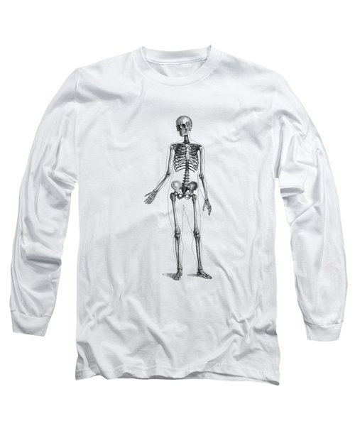 Full Body Skeleton - Vintage Anatomy Poster Long Sleeve T-Shirt
