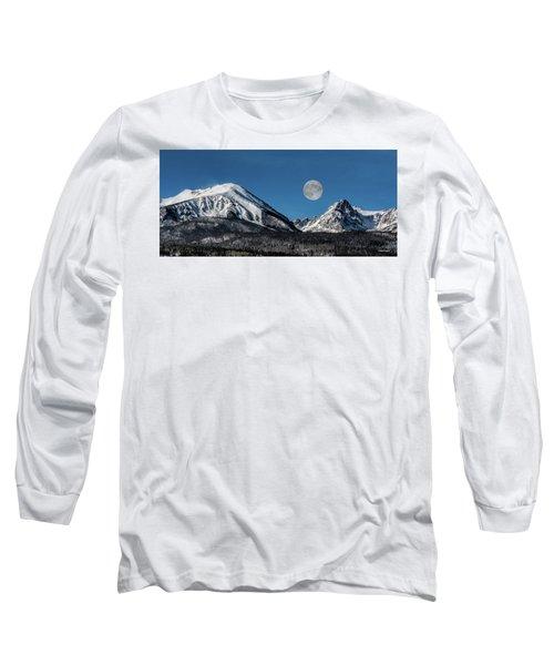 Full Moon Over Silverthorne Mountain Long Sleeve T-Shirt