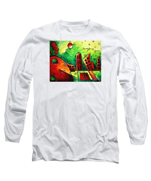 Fun Contemporary Abstract Pop Art Style Cityscape Landscape Evergreen By Madart Long Sleeve T-Shirt
