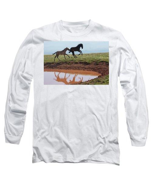 Fun In The Rockies- Wild Horse Foals Long Sleeve T-Shirt