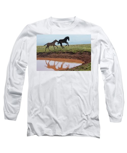 Fun In The Rockies- Wild Horse Foals Long Sleeve T-Shirt