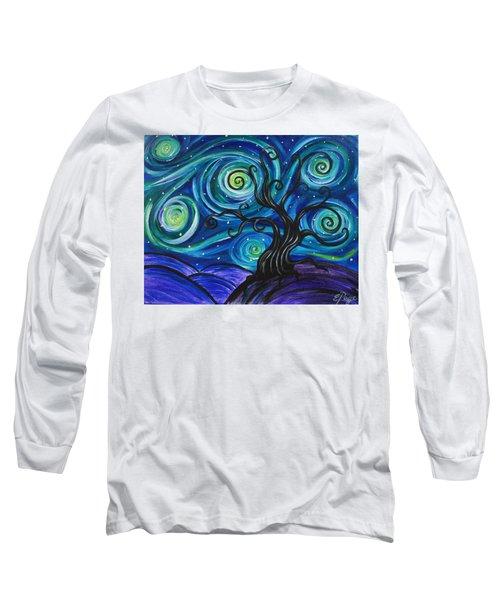 Funky Tree, Starry Night Long Sleeve T-Shirt