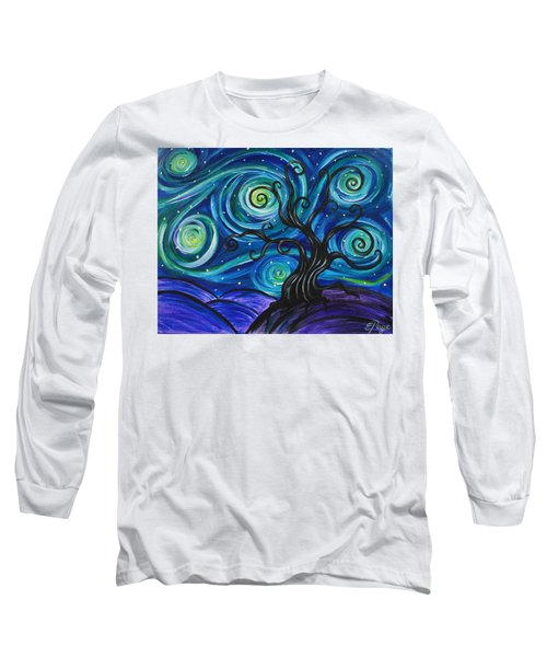 Funky Tree, Starry Night Long Sleeve T-Shirt