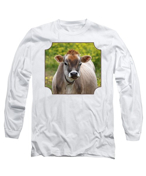 Funny Jersey Cow -square Long Sleeve T-Shirt by Gill Billington