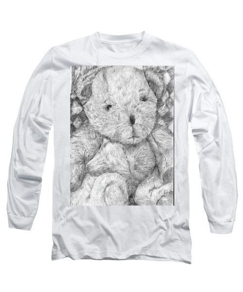 Long Sleeve T-Shirt featuring the drawing Fuzzy Wuzzy Bear  by Vicki  Housel