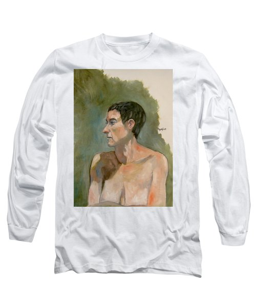 Gabrielle With Long Hair Long Sleeve T-Shirt by Ray Agius