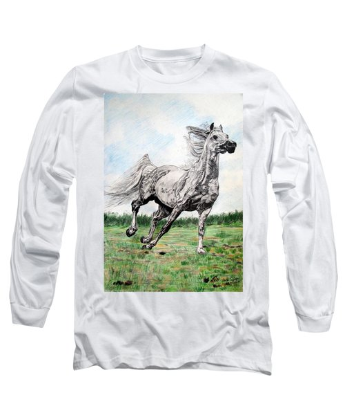 Galloping Arab Horse Long Sleeve T-Shirt by Melita Safran