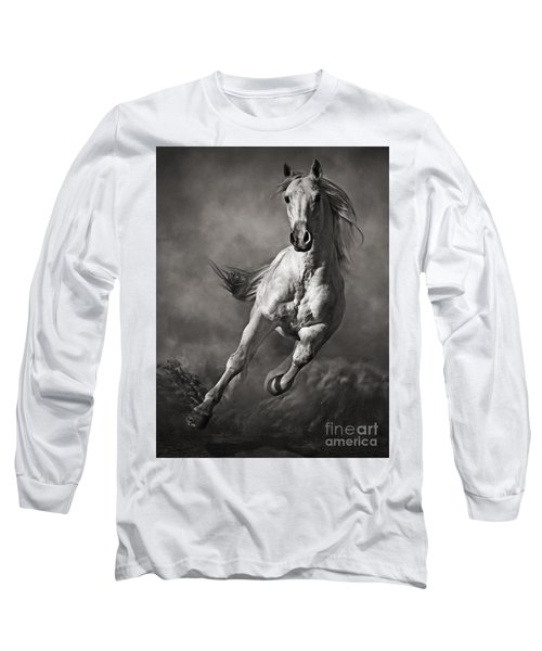 Galloping White Horse In Dust Long Sleeve T-Shirt