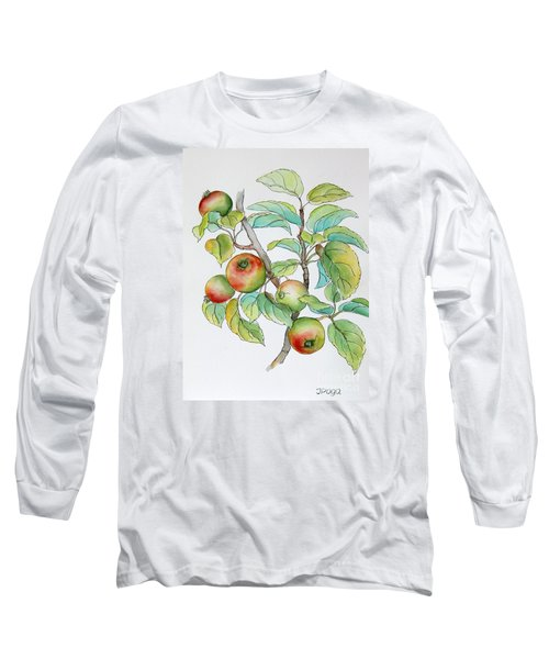 Long Sleeve T-Shirt featuring the painting Garden Apples Sketch by Inese Poga