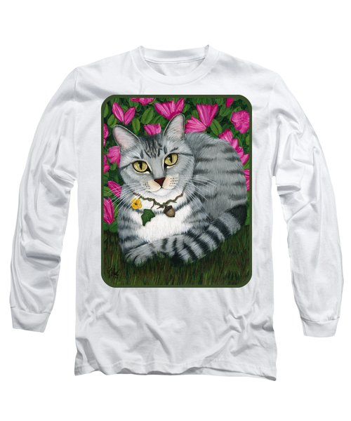 Garden Cat - Silver Tabby Cat Azaleas Long Sleeve T-Shirt
