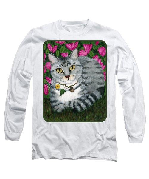 Long Sleeve T-Shirt featuring the painting Garden Cat - Silver Tabby Cat Azaleas by Carrie Hawks