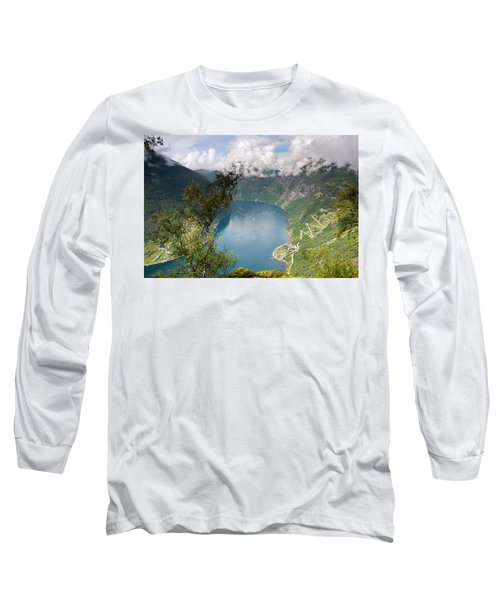 Geirangerfjord With Birch Long Sleeve T-Shirt by Aivar Mikko