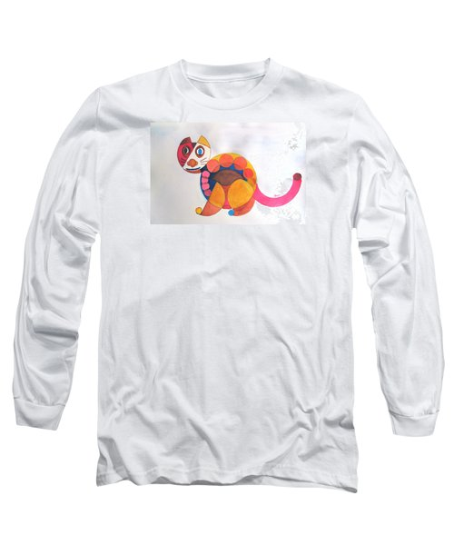 Long Sleeve T-Shirt featuring the painting Geometric Cat by Sandy McIntire