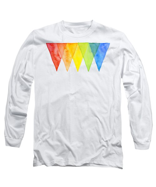 Geometric Watercolor Pattern Rainbow Triangles Long Sleeve T-Shirt