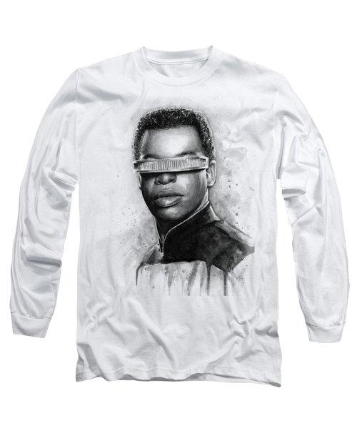 Geordi La Forge - Star Trek Art Long Sleeve T-Shirt by Olga Shvartsur