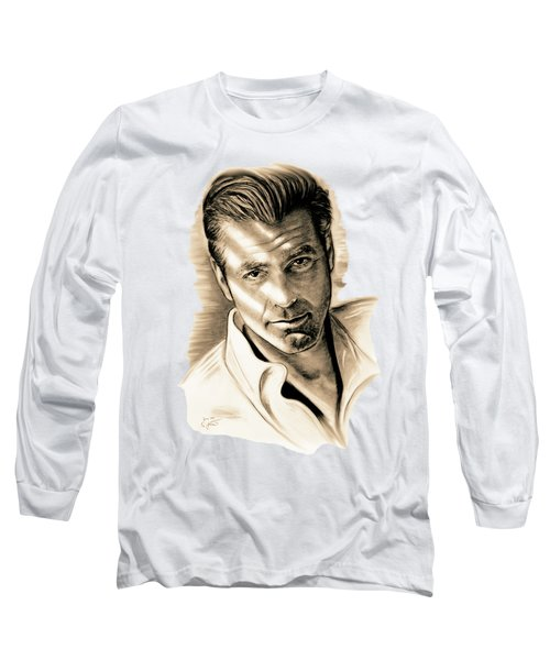George Clooney Long Sleeve T-Shirt by Gitta Glaeser