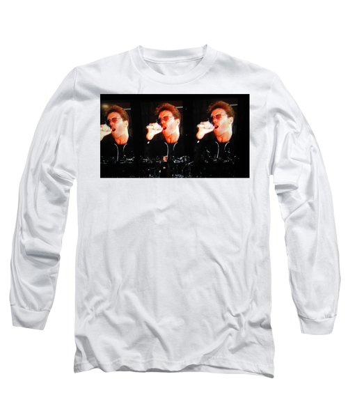 Long Sleeve T-Shirt featuring the photograph George Michael The Passionate Performer by Toni Hopper