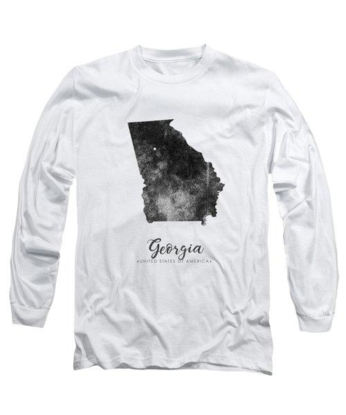 Georgia State Map Art - Grunge Silhouette Long Sleeve T-Shirt