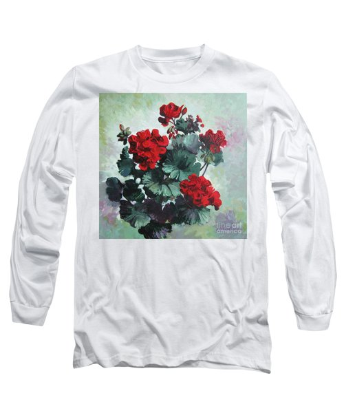 Long Sleeve T-Shirt featuring the painting Geranium by Elena Oleniuc