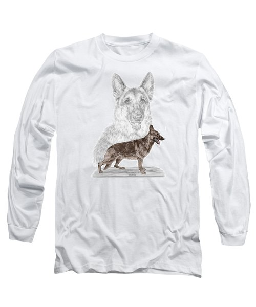 German Shepherd Art Print - Color Tinted Long Sleeve T-Shirt by Kelli Swan