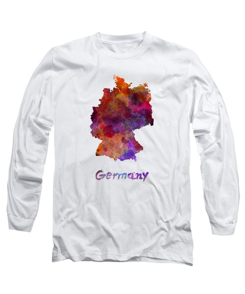 Germany In Watercolor Long Sleeve T-Shirt by Pablo Romero