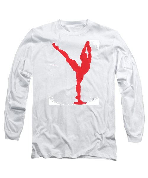 Long Sleeve T-Shirt featuring the painting Gesture Brush Red 1 by Shungaboy X