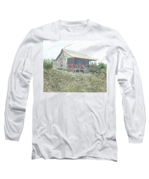 Long Sleeve T-Shirt featuring the painting Get Away Cottage by Joel Deutsch