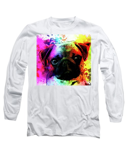 Giant Pug Watercolor Print  Long Sleeve T-Shirt