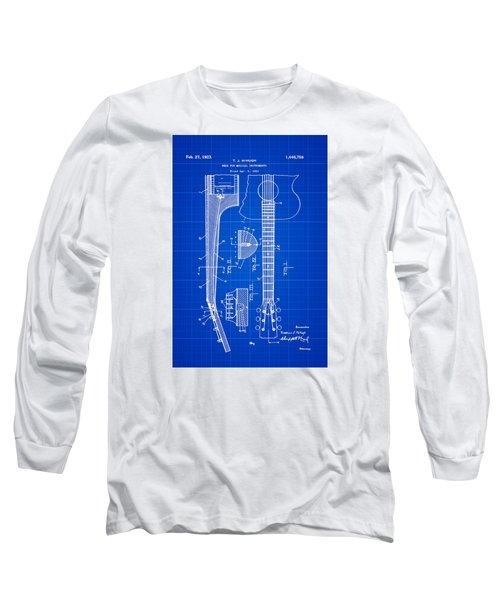 Gibson Guitar Patent 1923 Blue Print Long Sleeve T-Shirt by Bill Cannon