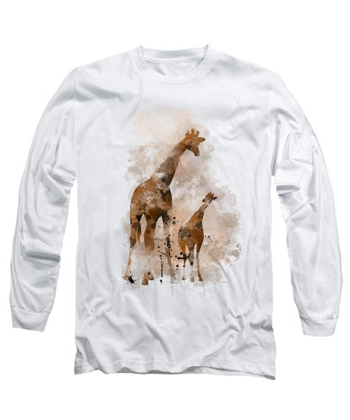 Giraffe And Baby Long Sleeve T-Shirt by Marlene Watson