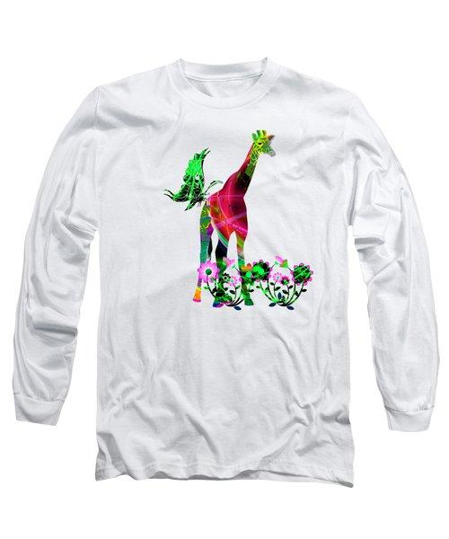 Giraffe And Flowers3 Long Sleeve T-Shirt by EricaMaxine  Price