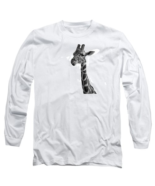 Long Sleeve T-Shirt featuring the photograph Giraffe In Black And White by James Sage