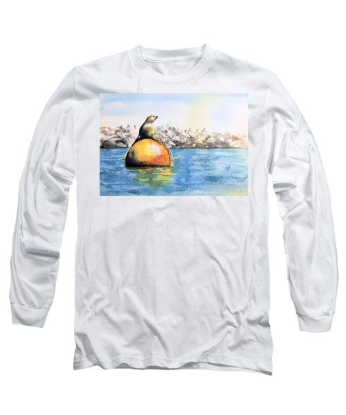 Girl And Buoy Long Sleeve T-Shirt by Debbie Lewis