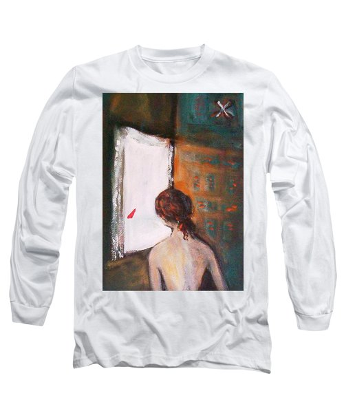 Long Sleeve T-Shirt featuring the painting Girl At The Window by Winsome Gunning