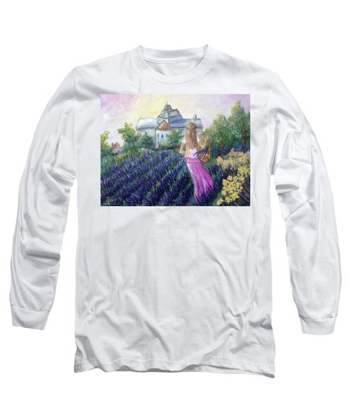 Girl In A Lavender Field  Long Sleeve T-Shirt
