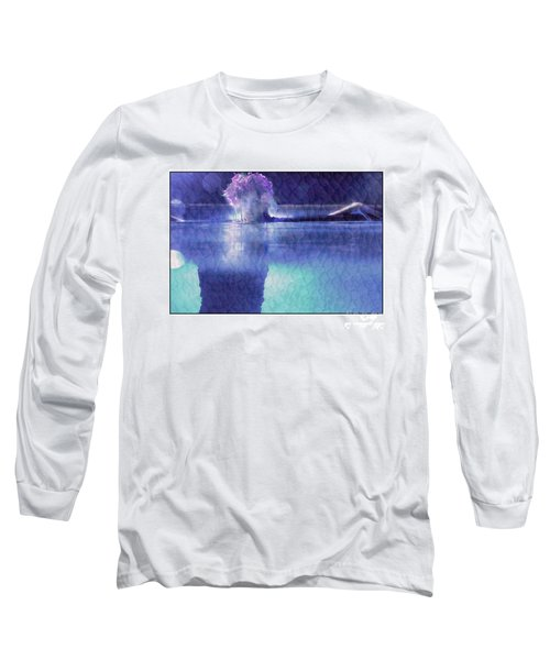 Girl In Pool At Night Long Sleeve T-Shirt by Michael Edwards