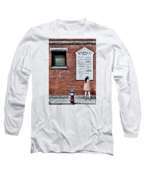 Walking On Railroad Street No. 3 - The Girl In The Polka Dot Dress Long Sleeve T-Shirt