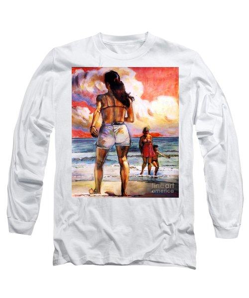 Girl On The Beach Long Sleeve T-Shirt