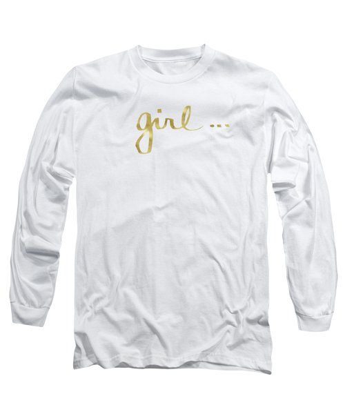 Girl Talk Gold- Art By Linda Woods Long Sleeve T-Shirt