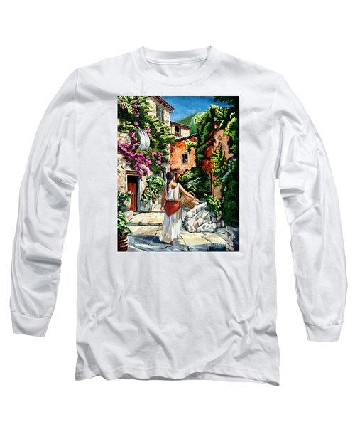 Girl With Basket On A Greek Island Long Sleeve T-Shirt