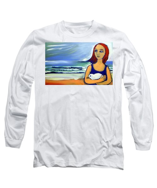 Long Sleeve T-Shirt featuring the painting Girl With Bird by Winsome Gunning
