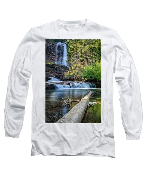 Glacier National Park Waterfall 3 Long Sleeve T-Shirt by Andres Leon