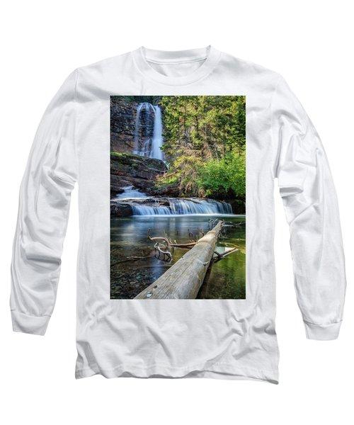 Glacier National Park Waterfall 3 Long Sleeve T-Shirt