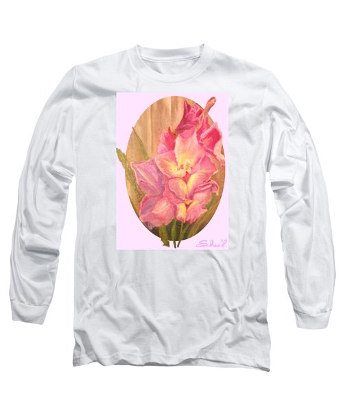 Gladiolas Oval Long Sleeve T-Shirt by Sherril Porter
