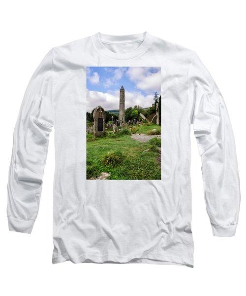 Glendalough Tower Ireland Long Sleeve T-Shirt by Martina Fagan