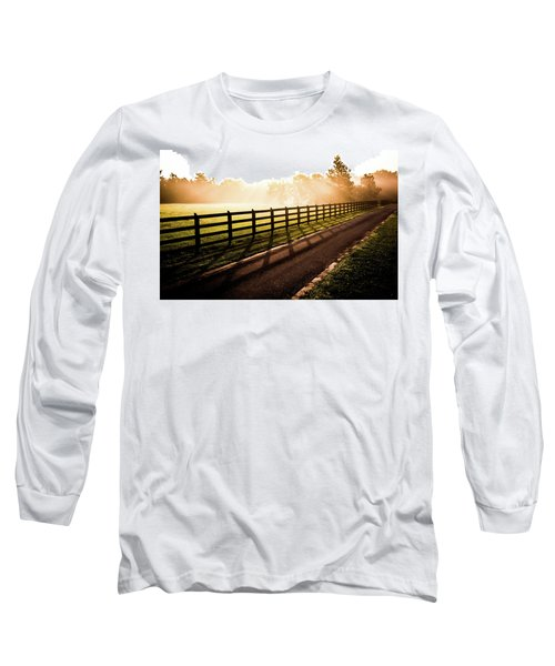 Long Sleeve T-Shirt featuring the photograph Glowing Fog At Sunrise by Shelby Young