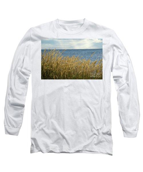 Glowing Grass By The Coast Long Sleeve T-Shirt by Kennerth and Birgitta Kullman