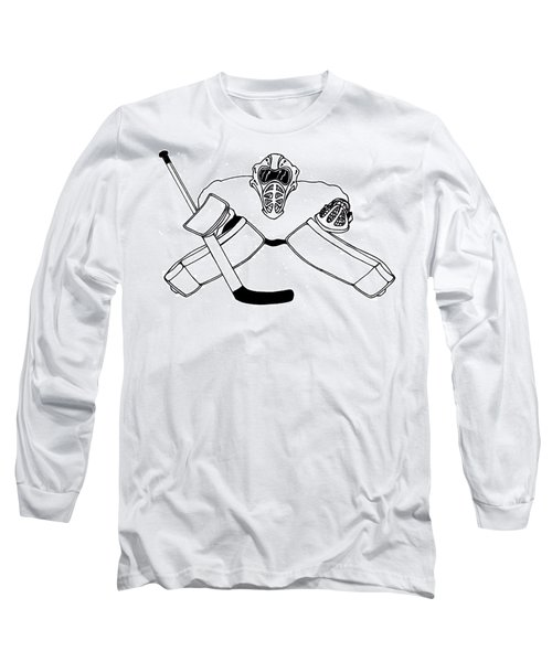 fcf43e098 Long Sleeve T-Shirt featuring the drawing Goalie Equipment by Hockey Goalie
